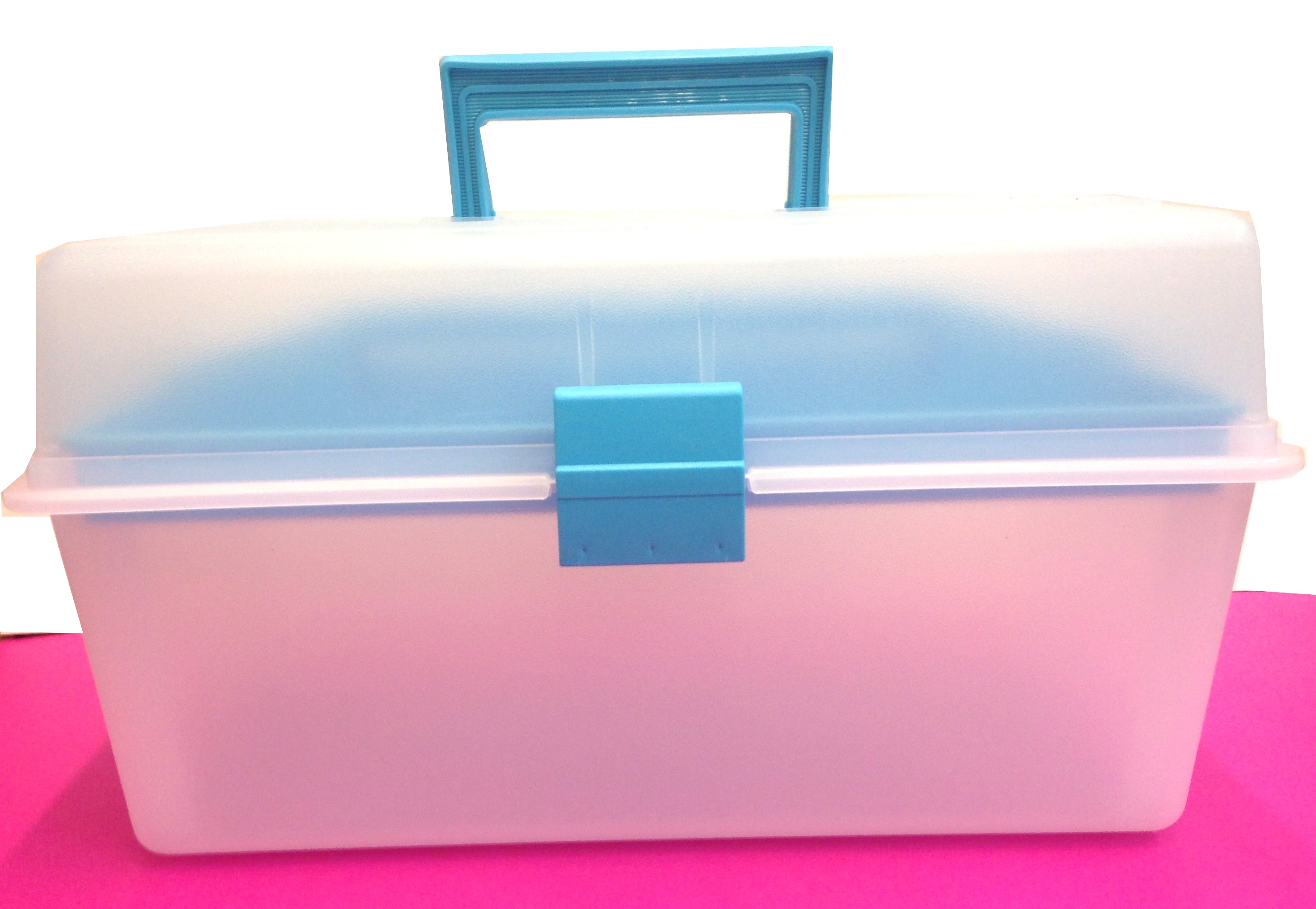 Plastic storage cube box with tray laguna blue b 35 carrying handle in trendy laguna blue color prinsesfo Gallery