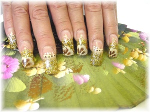 Above Design Created Using A Combination Of Sheba Color Acrylic From The Wild Sparkle Collection Flat Nail Shape Confetti 14k Gold And Paint
