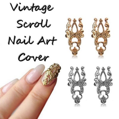 - Metal Vintage Scroll Nail Art Cover Plate 3519