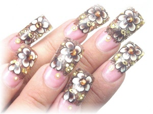 Rock candy design created using sheba nails rock candy chocolate and flat rhinestones gold encapsulated in uv gel enhanced with flowers using sheba nails flat nail prinsesfo Gallery