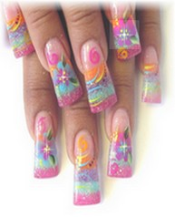 Sheba Nails Tropical Sands Nail Art encapsulated with Perfectionist UV Gel