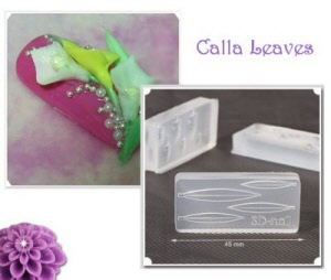 3d acrylic nail art mold - calla leaves