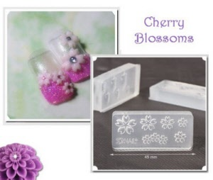 3d acrylic nail art mold - cherry blossoms
