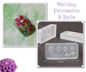 3d acrylic nail art mold - christmas pointsettia and bells